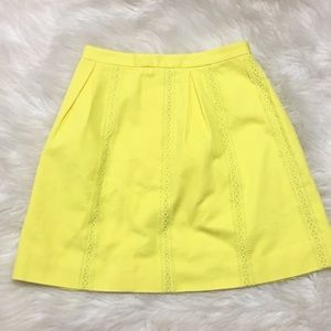 J. Crew Women's Yellow Lace Stripe A-Line Skirt 00